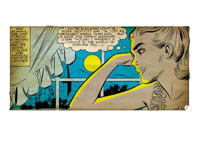 Marvel Comics Retro: Love Comic Panel, Alone at Window under Moonlight (aged)
