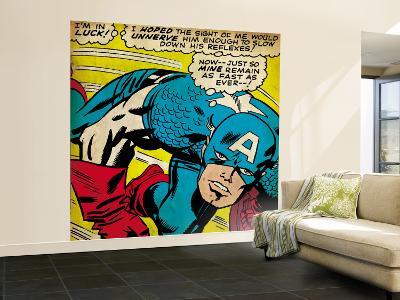 Marvel Comics Retro: Captain America Comic Panel, Monologue, I'm in Luck! (aged)