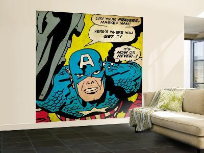 Marvel Comics Retro: Captain America Comic Panel, Villain Monologue, Say your Prayers (aged)