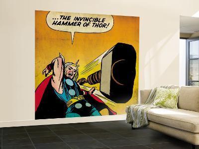 Marvel Comics Retro: Mighty Thor Comic Panel, Throwing Hammer (aged)