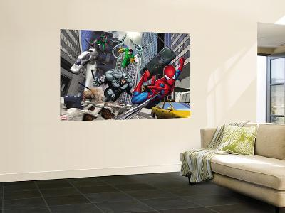Spider-Man, Rhino, Green Goblin, and Doctor Octopus in the City