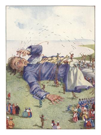 Illustration From Gulliver's Travels Of Lilliputians Attacking