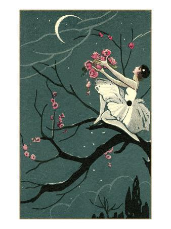 Ballerina Offering Roses to the Moon