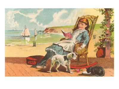 Victorian Girl Reading by Seashore