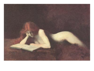 Nude Redhead Reading Book