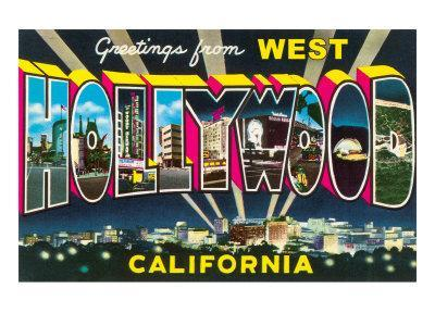 Large letter Greetings from West Hollywood, California