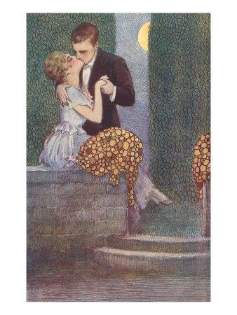 Couple Kissing in the Moonlight