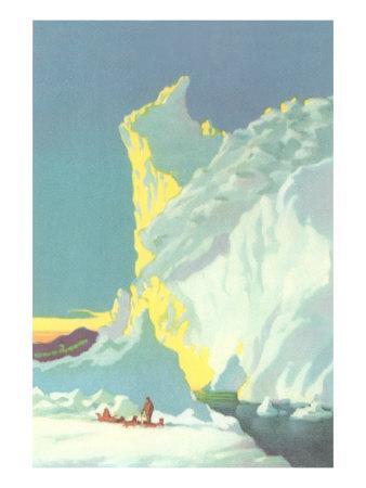 Eskimo with Sled Dogs, Giant Glacier