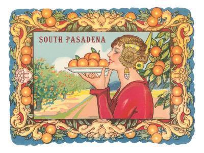 Art Deco Woman with Oranges, South Pasadena, California