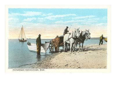 Horse Cart Pulling Boat, Provincetown, Mass.