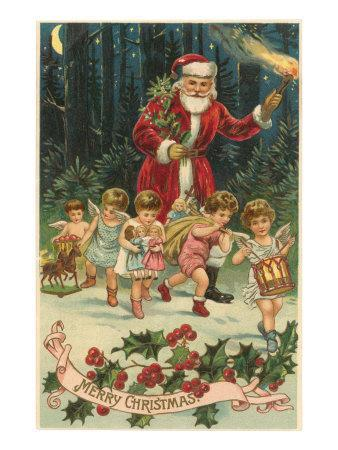 Merry Christmas, Santa with Cherubs