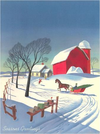 Season's Greetings, Sleigh and Farm