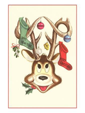 Merry Christmas, Stockings in Cartoon Deer's Antlers