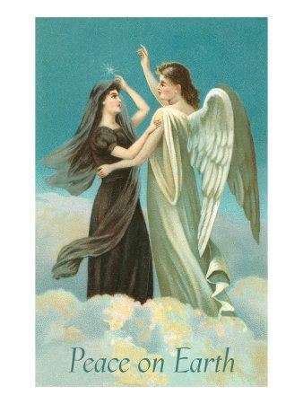 Peace on Earth, Lady with Angel on Clouds