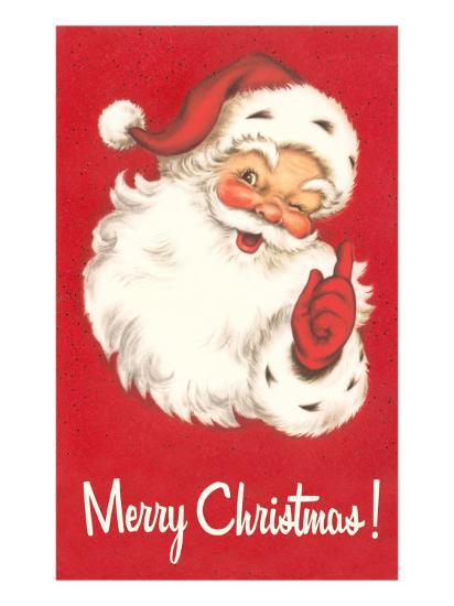 Merry Christmas Winking Santa Claus Poster At Allposters Com