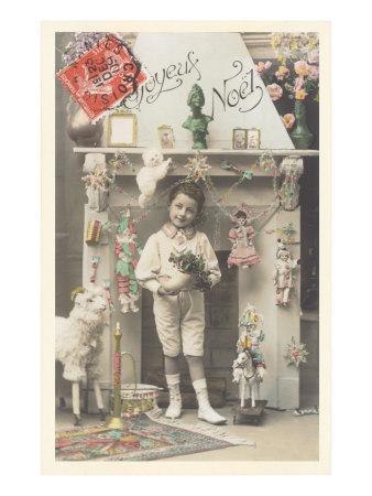 Joyeux Noel, Child by Fireplace