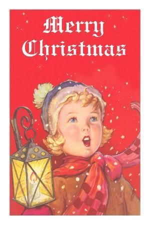 Merry Christmas, Young Caroler with Lantern