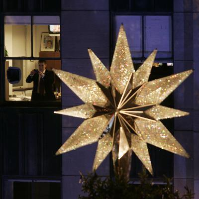 Office Worker at Rockefeller Center before the 74th Annual Christmas Tree Lighting Ceremony