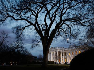 Lights are on Early at the White House in Washington