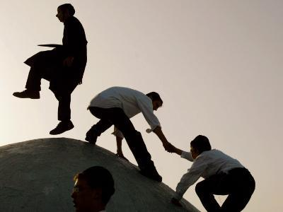 Ultra-Orthodox Jewish Man on Top of Grave of Rabbi Shimon Bar Yochai, Lag Ba-Omer Celebrations