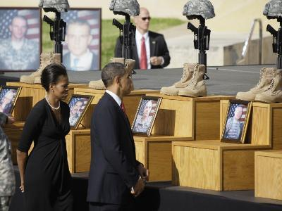 President Obama and First Lady File Past Crosses at a Memorial for Victims of Fort Hood Shooting