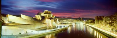 Buildings Lit Up at Dusk, Guggenheim Museum Bilbao, Bilbao, Vizcaya, Spain