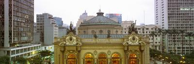 High Section View of a Theatre at Dusk, Theatro Municipal, Sao Paulo, Brazil