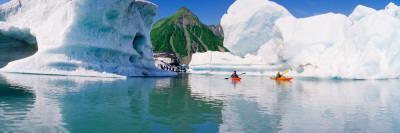Kayakers in the Lake, Bear Glacier Lake, Kenai Fjords National Park, Alaska, USA