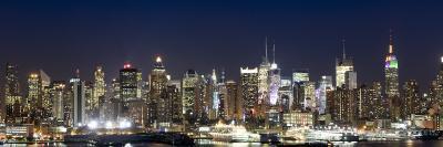 Buildings in a City Lit Up at Dusk, Hudson River, Midtown Manhattan, Manhattan, New York City, New