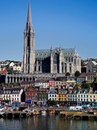 Immigrant Embarkation Harbour, Terraced Houses and St Colman's Cathedral, County Cork, Ireland