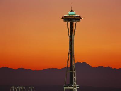 Space Needle and Olympic Mountains at Dusk, Seattle, Washington, USA