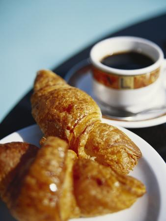 Croissant and Black Coffee on Table, St. Martin, Caribbean