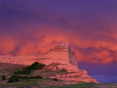 Stormy Light on Scottsbluff National Monument, Nebraska, USA