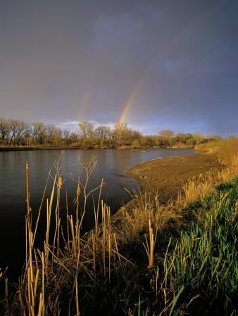 Rainbow over the North Platte River, Nebraska, USA