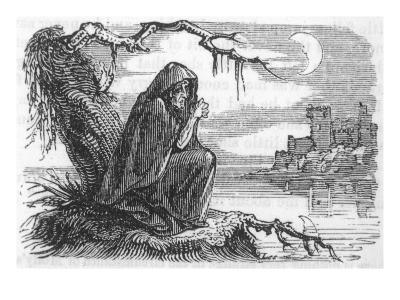 An Irish Banshee Sits Dolefully by a River