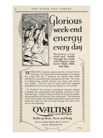 """Advertisement for Ovaltine Which """"Builds Up Brain, Nerve and Body"""""""