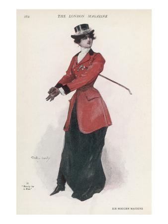An Elegant Young Woman in Riding Gear, All Set for Hunting the Fox
