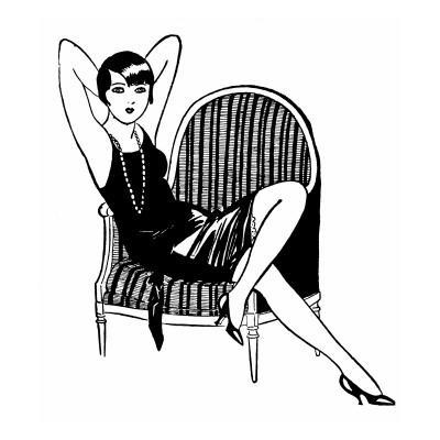 A Sophisticated Young Flapper Type with Short Hair, Sitting in a Chair