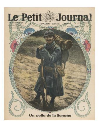 A Poilu, Informal Term for a French Infantryman, of the Somme with His Rifle and Pack