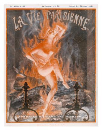 A Naked Woman Dances as Fire on the Burning Wood of a Fireplace