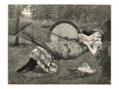 A Young Woman Sleeps in a Hammock in the Garden on a Warm Afternoon