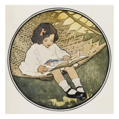 A Small Girl Sits on a Hammock Amusing Herself by Reading an Atlas