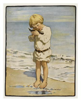 A Small Blond Boy Finds a Seagull with an Injured Wing as He Paddles by the Water's Edge