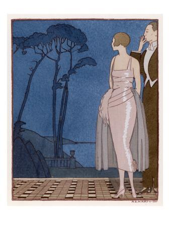 An Elegant Couple on the Terrace: She Wears a Pink Evening Dress by Worth