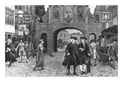 Boswell and Johnson Walking Down Fleet Street, London