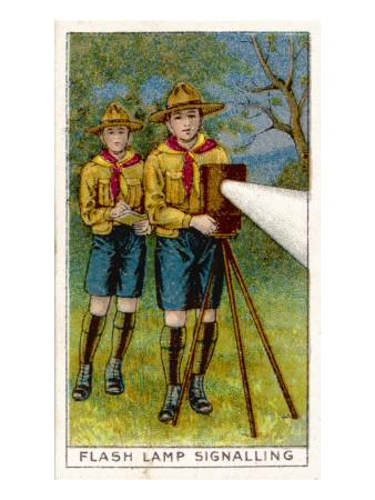 Boy Scouts Signalling with a Lamp