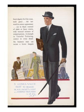 Black Worsted Jacket, Striped Trousers for the Businessman