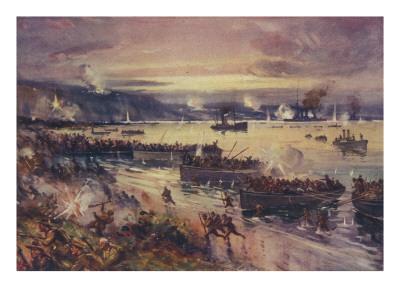 Australian Troops Land on the Beach at Gallipoli