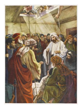 At Capernaum Jesus Heals a Paralysed Man Who Is Lowered into the House Through the Roof