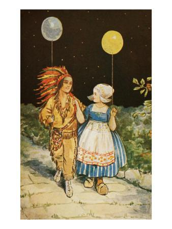 Children's Party American Indian and Dutch Girl
